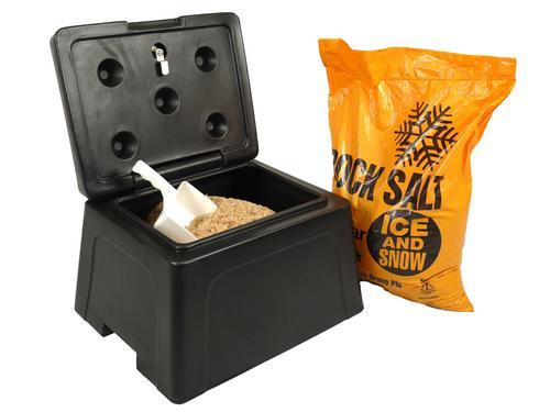 A mini grit bin and de-icing salt