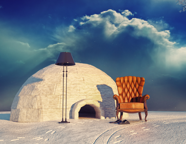 An image of an armchair and an igloo