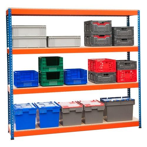 Heavy duty shelving for warehouses