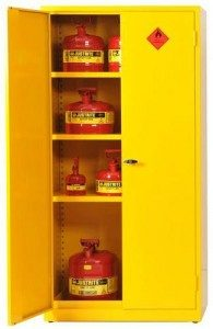 Yellow Flammable Cabinet Half Open 195x300mm