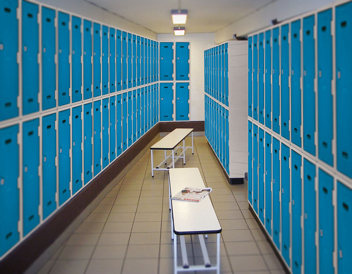 Changing room lockers in use