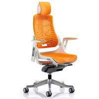 Zure Executive Chair Elastomer Orange with Headrest