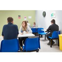 Canteen tables and chairs in use