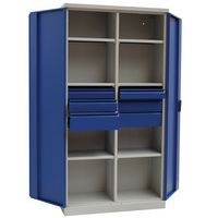 Fully Opened Grey Blue Storage Cupboard