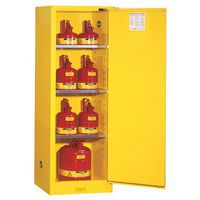 Slimline flammable storage cabinet filled with flammable canisters.