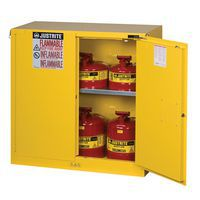 Yellow flammable storage cabinet with door open and canisters inside.