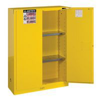Flammable Storage Cabinet with one door open and 2 shelves.