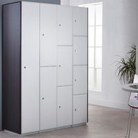White locker doors with Black end panels