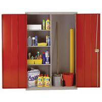 Red Open Door Large Metal Cleaning Cabinet with Antibacterial Technology
