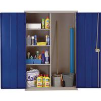 Open Door Blue Large Metal Cleaning Cabinet with Antibacterial Technology
