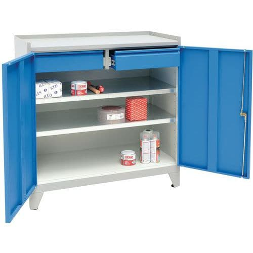 Metal Tool Cupboard with Feet & 2 Drawers - HxWxD 1020x1000x500mm