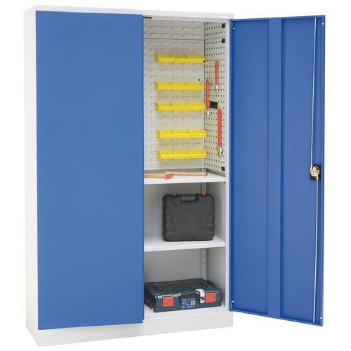 Large Flat Pack Cupboard with Louvre Panels in Blue