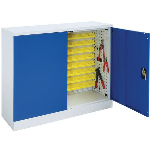 Flat Pack Cupboard with Louvre Panels in Blue