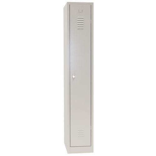 Storage Locker Single Door with Plinth - Grey Body & Hasp Lock - 1800x415x500mm