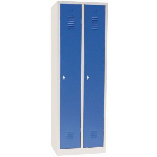 Tall Metal Storage Lockers - Unit Of 2 - Hasp Lock & Stand - Manutan