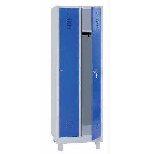 Tall Metal Storage Lockers - Unit Of 2 - Hasp Lock & 4 Feet - Manutan