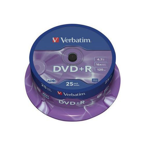 Verbatim DVD+R Matt Silver 16x - packs of 25 and 50