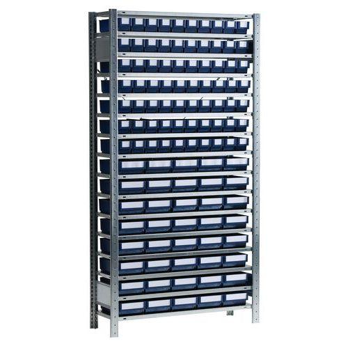 Shelving unit with dividable B series bin-drawers - Depth 500 mm