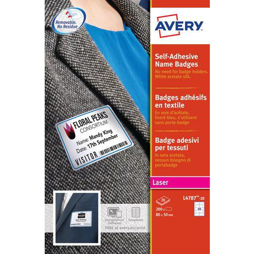 Textile self-adhesive badge with coloured border