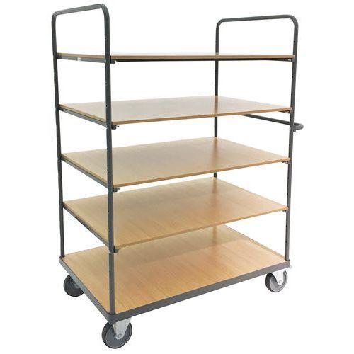 Trolley with 5 wooden shelves - Capacity 500kg - Manutan