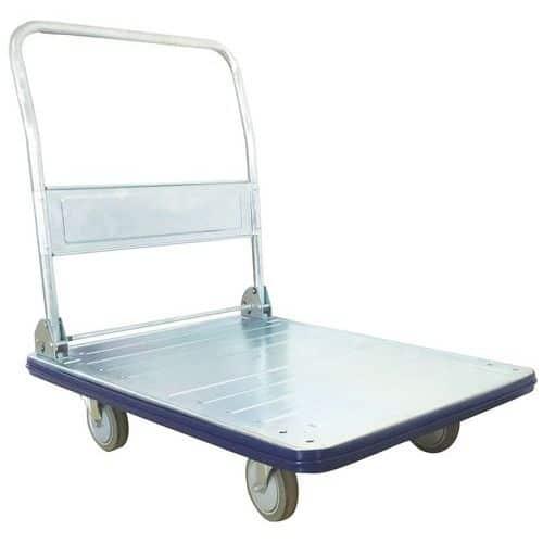 Steel trolley with fold-down back - Capacity 350kg - Manutan
