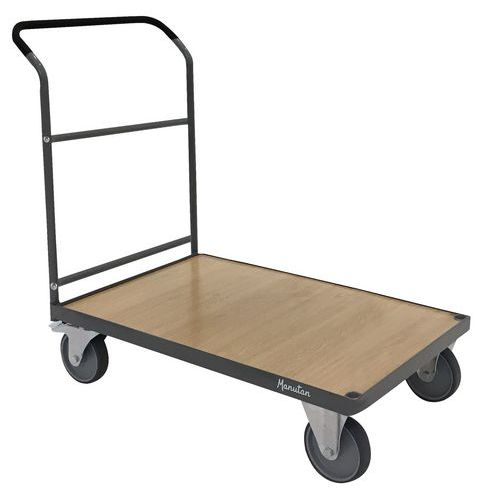 Steel platform trolley with fixed back - Capacity 500 kg - Manutan