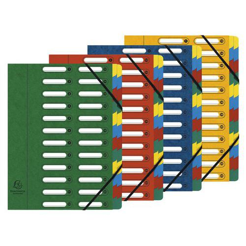 File with pre-cut windows, 24 compartments - Assorted colours - Pack of 4
