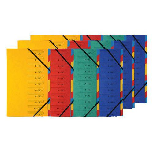 Stapled document organiser with elastic straps, 7 sections - Assorted colours