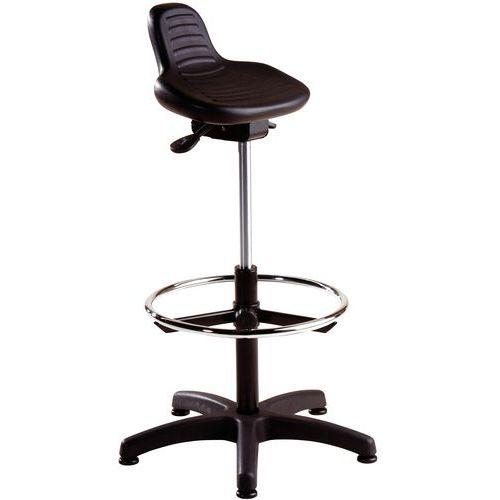 Height-Adjustable Workshop Stool with Footrest - Manutan