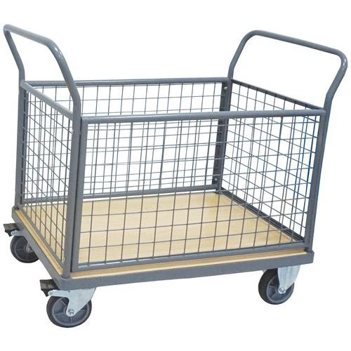 Mesh Back Platform Trolley - 4 Sided - 500kg - Manutan