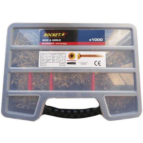 Set of Pozidriv® fully threaded cross-head screws - 1000pieces - Rocket