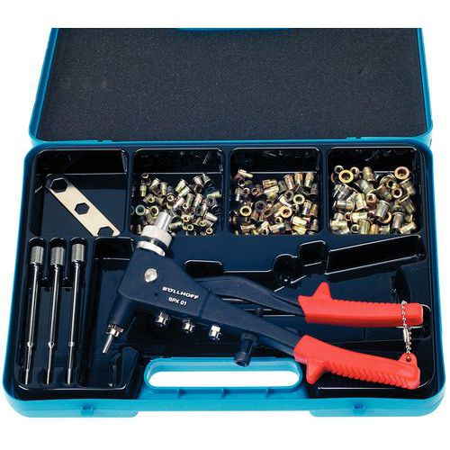 Case of pliers and nuts - Flush head nuts