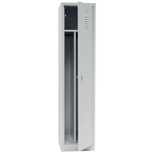 Clean & Dirty Locker with Plinth - Grey Body & Hasp Lock - 1800x415x500mm