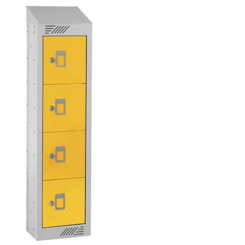 Personal Effects Lockers - 4 Doors - Sloping Top - 991x250x155mm