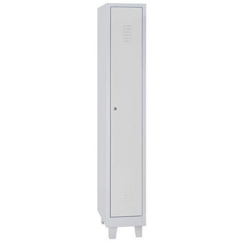 Single Locker Grey Body with Feet & Hasp Lock - 1900x315x500mm