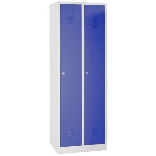 Storage Lockers - 2 Nest with Plinth Grey Body & Hasp Lock - 1800x600x500mm