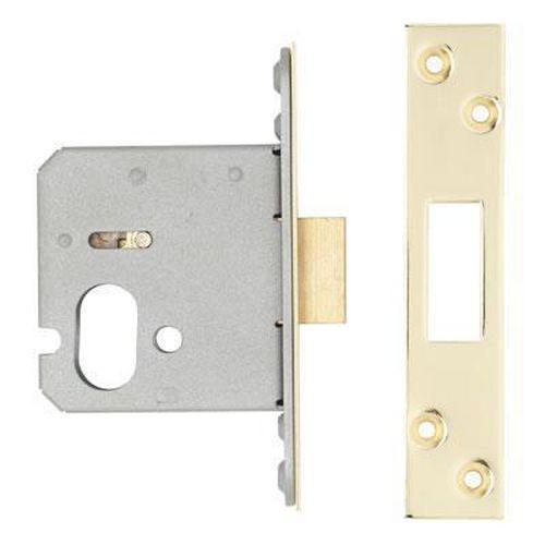 A-Spec Architectural Oval Deadlock - 76mm Case - 57mm Backset - PVD Brass