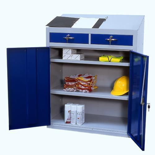 Metal Anti-Bacterial Workstation Cabinet - Double Drawer 1200x915x457mm