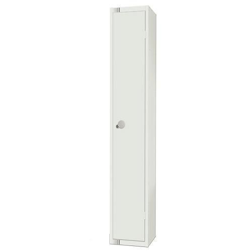 Elite Antibacterial Lockers Single Door - Flat Top & Cylinder Lock - White - 1800x300x300mm