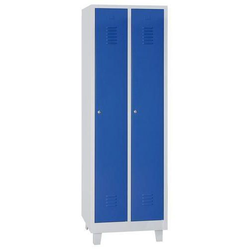 Storage Lockers - 2 Nest with Feet Grey Body & Cylinder Lock - 1900x600x500mm