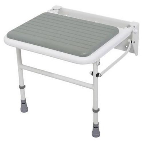 Padded Folding Shower Seat With Legs - White