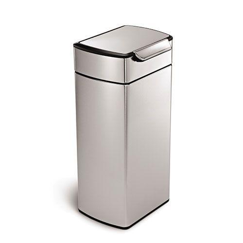 Brushed Steel Rectangular touch bar bin