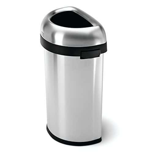 Brushed Steel Open Semi Round Bin