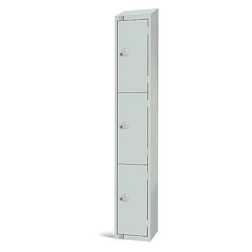 Elite Antibacterial Lockers - 3 Door - Sloping Top & Cylinder Lock - 1950x300x450mm