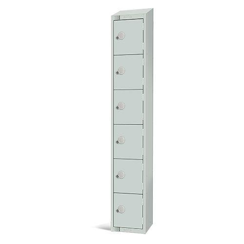 Elite Antibacterial Lockers - 6 Door - Sloping Top & Cylinder Lock - 1950x300x300mm