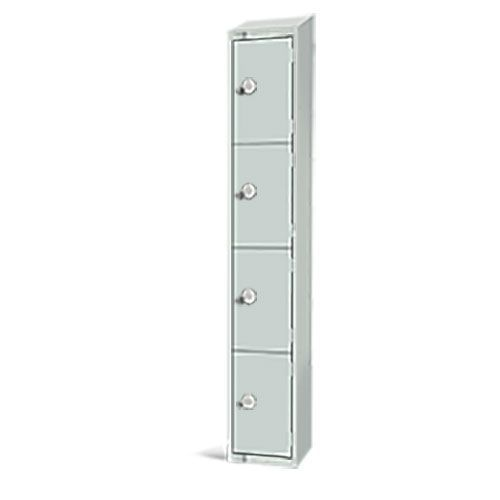 Elite Antibacterial Lockers - 4 Door - Sloping Top & Hasp Lock - 1950x300x450mm
