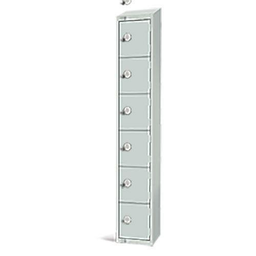Elite Antibacterial Lockers - 6 Door - Sloping Top & Hasp Lock - 1950x300x450mm