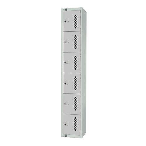 6 Door Perforated Locker 1830x300x300mm Cylinder Lock