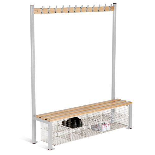 Locker Single Sided 12 Hook Bench Seat With Baskets