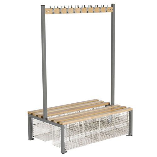 Locker Double Sided 9 Hook Bench Seat With Baskets